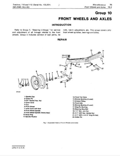 John Deere 110 112 Repair Manual Instant Download
