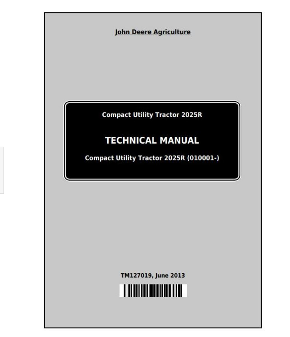 John Deere 2025R Repair Manual